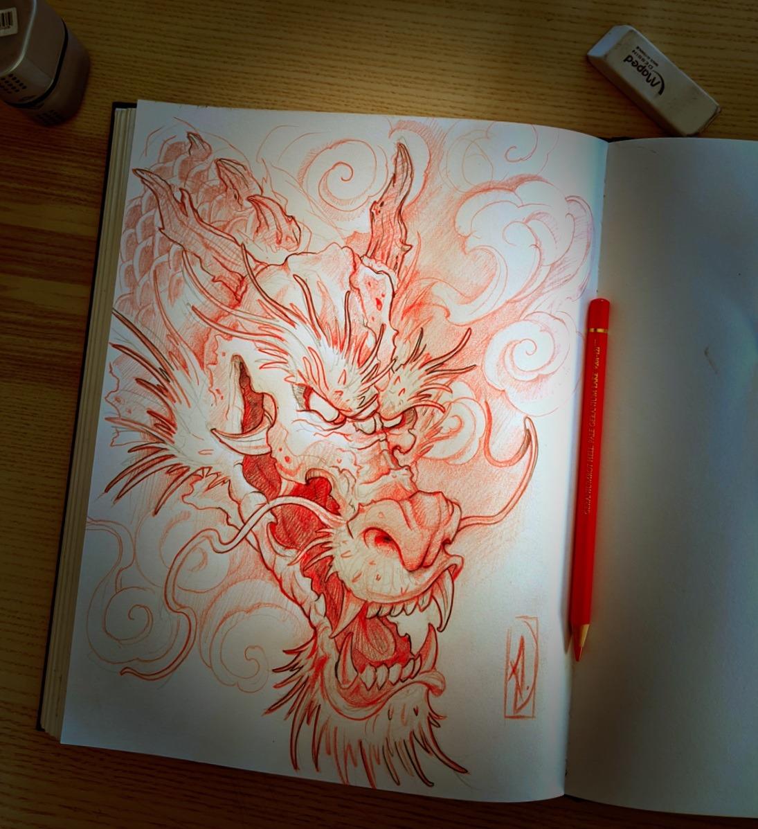 dragon sketch japanese