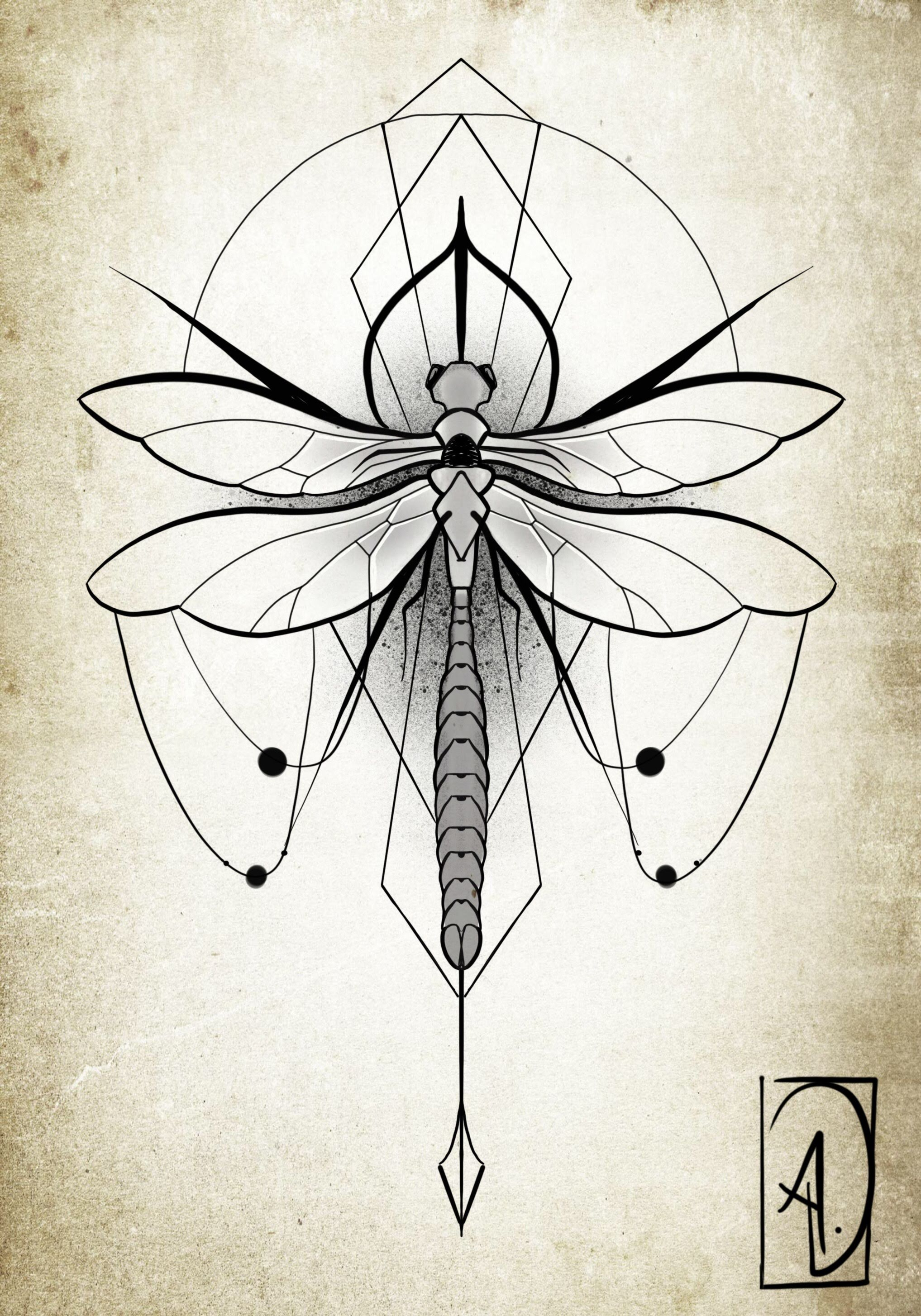 libellule art geometric