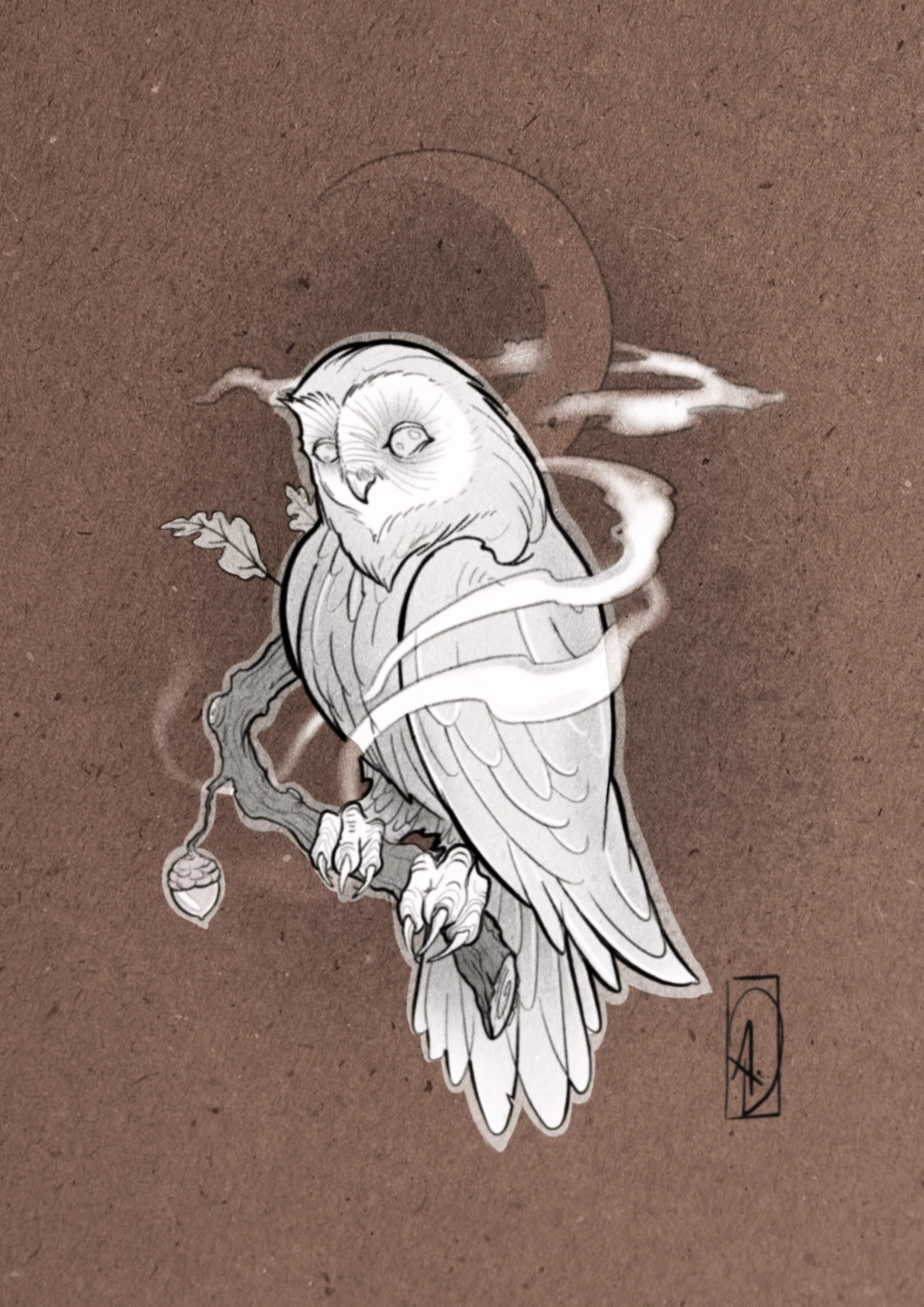 flash tattoo néo-traditional owl chouette tatouage lyon corbas