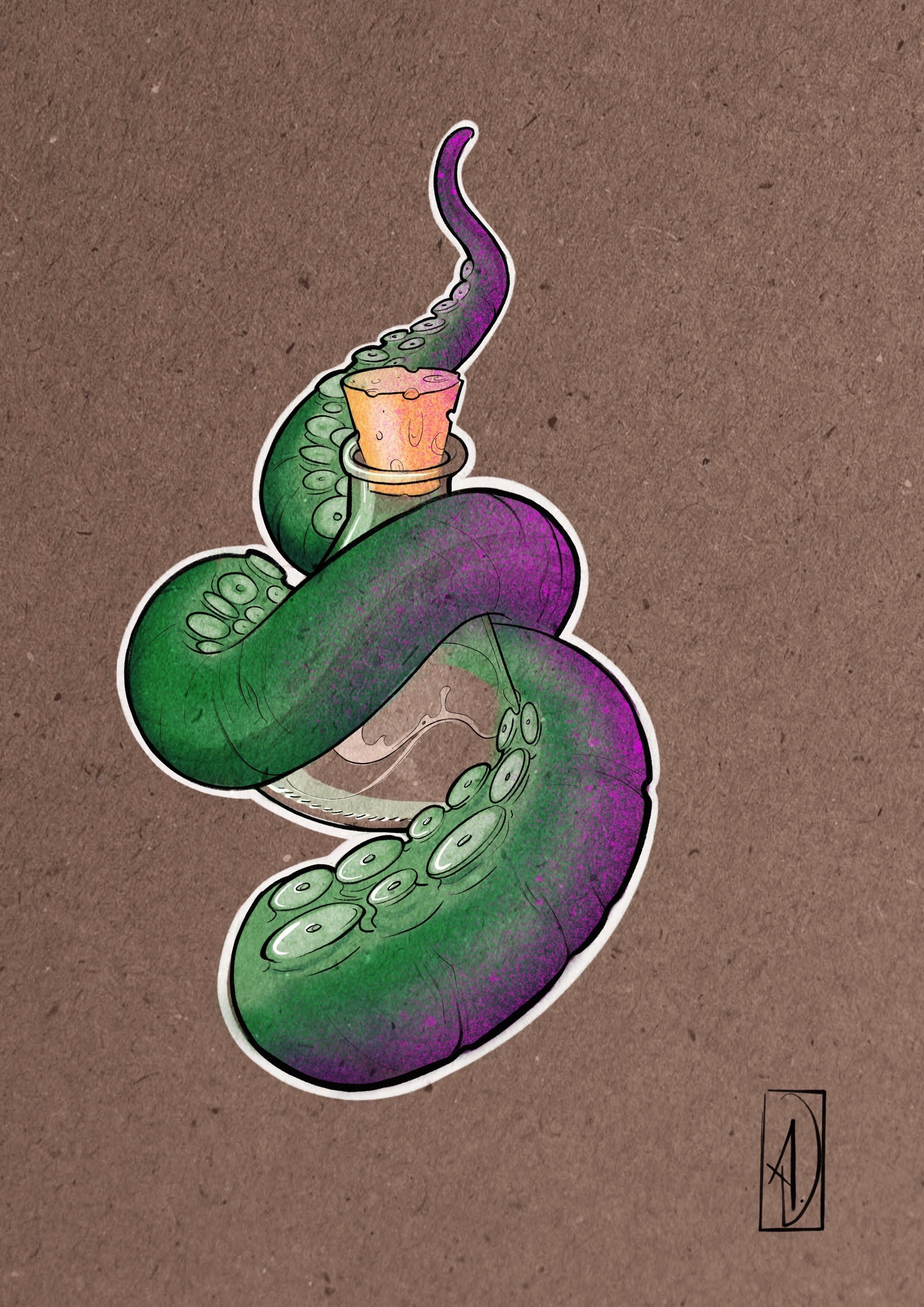 flash tattoo néo-traditional tentacle potion élixir tentacule lyon corbas