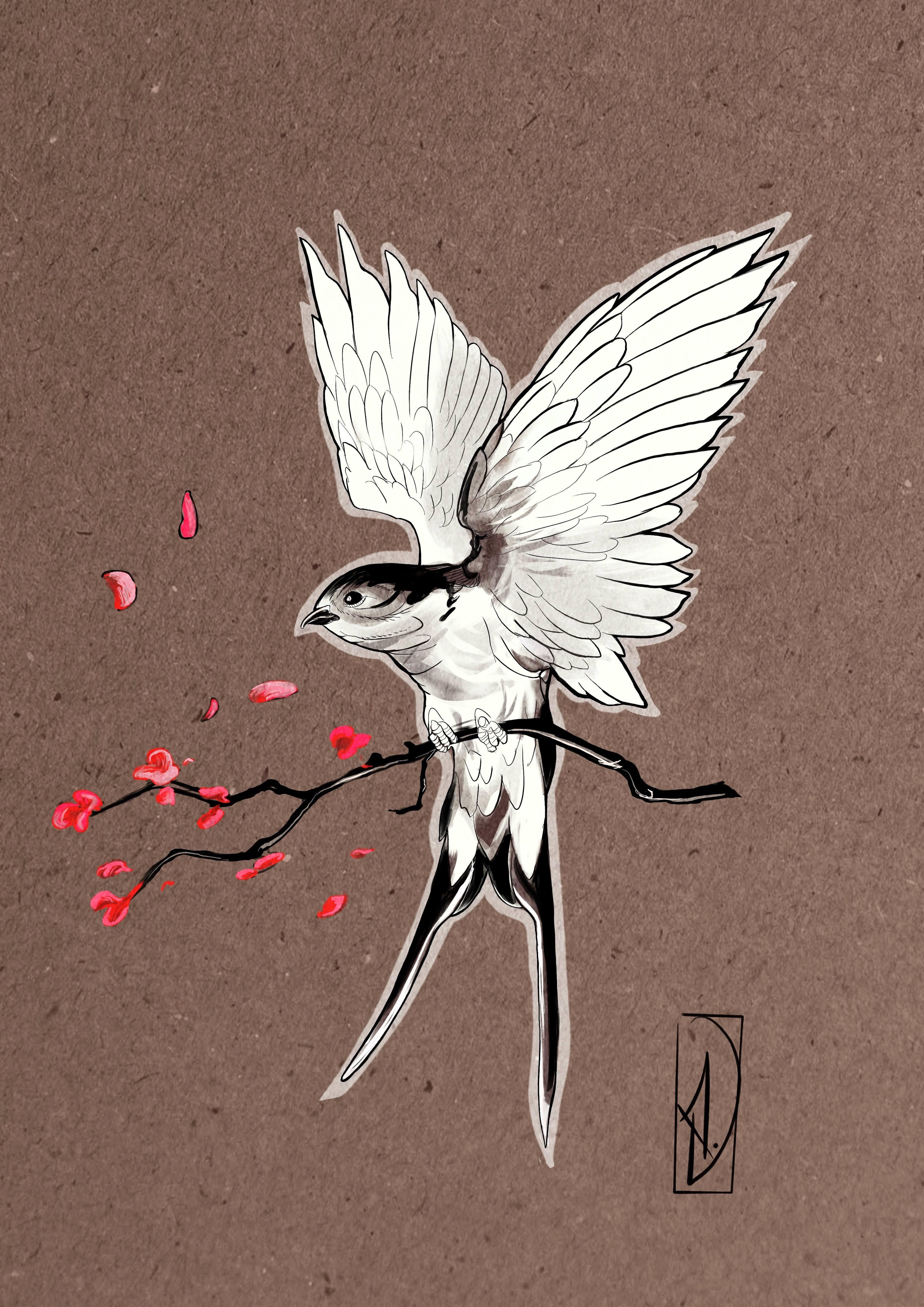flash tattoo néo-traditional hirondel swallow lyon corbas