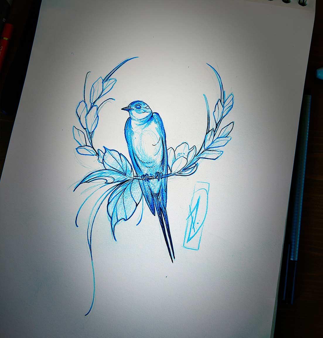 sketch oiseaux sur couronne florale