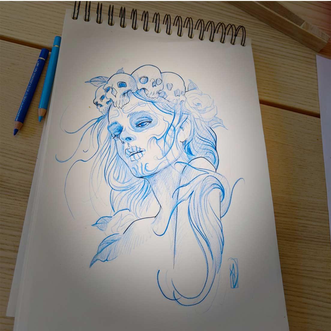 sketch tattoo catrina