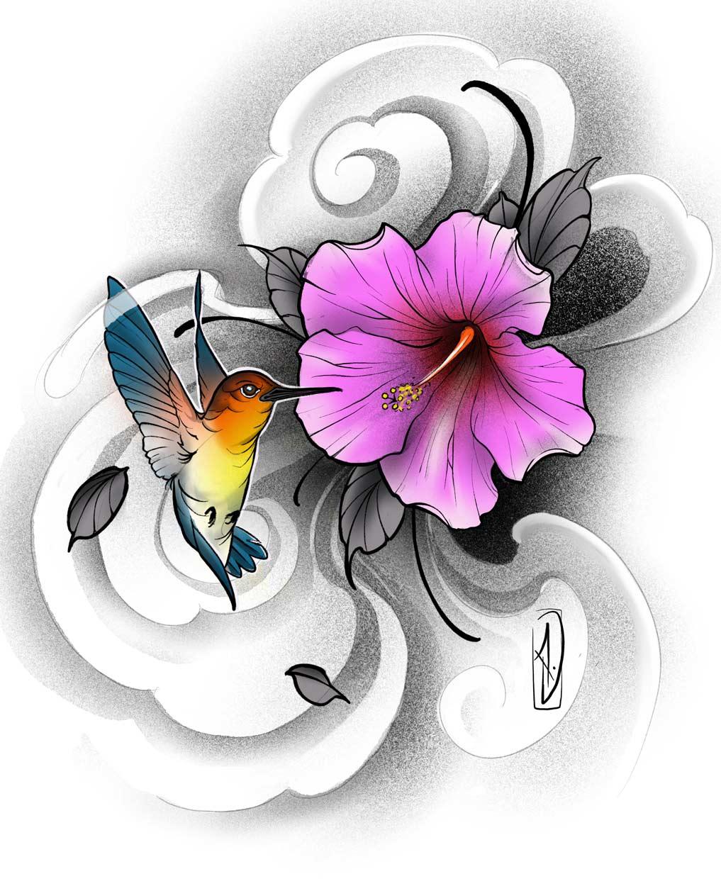 projet digital tattoo colibri hibiscus et fumée