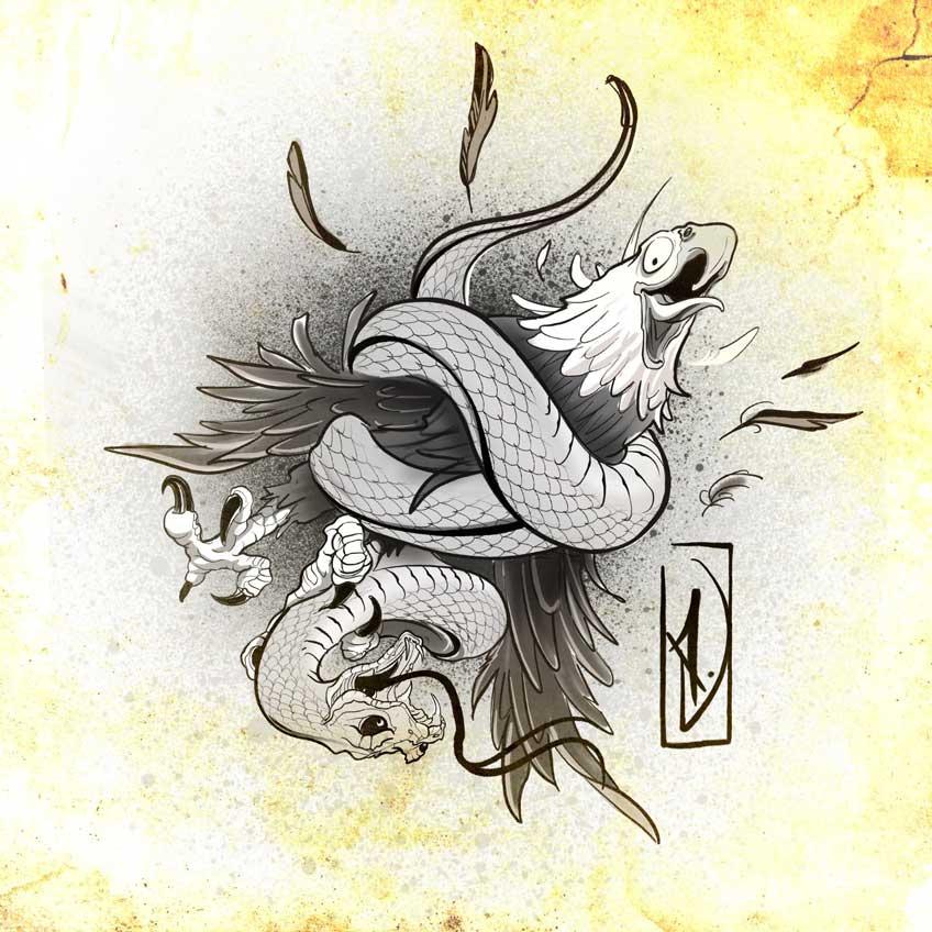 eagle struggled snake