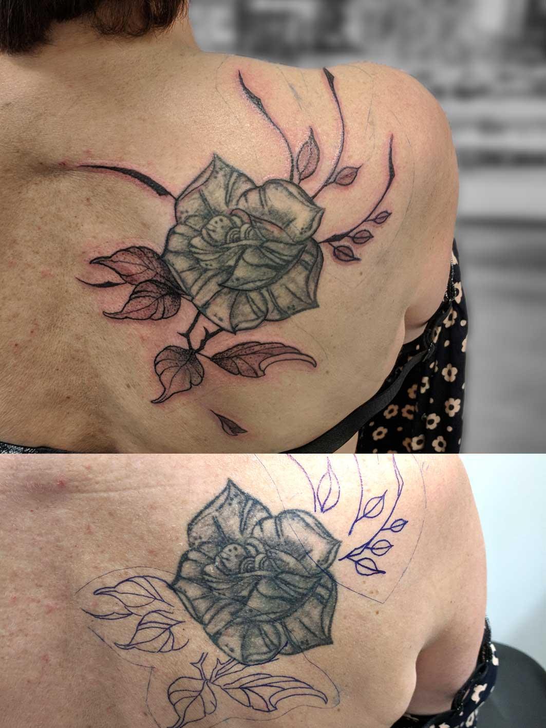 habillage de tatouage déjà existant rose cover