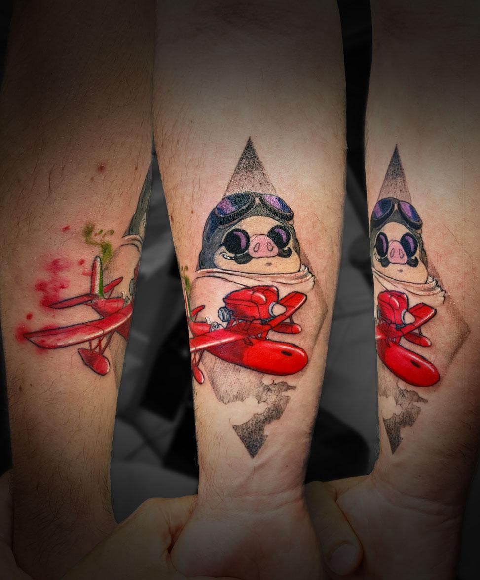 tatouage tattoo porco rosso couleur avant bras