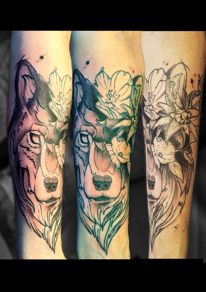 tattoo loup et floral avant bras gauche